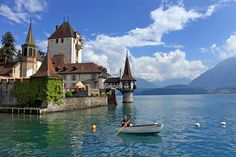 Castle in Oberfhofen am Thunersee, Lake of Thun- Switzerland