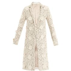 Chloé Floral embroidered lace coat (21,470 MXN) ❤ liked on Polyvore featuring outerwear, coats, jackets, coats & jackets, tops, long coat, pink coat, chloe coat, embroidered coat and long pink coat