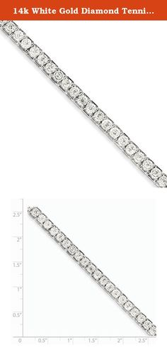 14k White Gold Diamond Tennis Bracelet. Attributes Polished 14K White gold Diamond Box catch Product Description Material: Primary - Purity:14K Stone Type 1:Diamond Stone Quantity 1:42 Plating:Rhodium Stone Weight 1:0.0714 ct Stone Clarity 1:I2 (A) Chain Length:7 in Chain Width:7 mm Clasp /Connector:Box Catch Feature:Solid Manufacturing Process:Casted Material: Primary:Gold Stone Shape 1:Round Product Type:Jewelry Jewelry Type:Bracelets Bracelet Type:Tennis Material: Primary - Color:White...