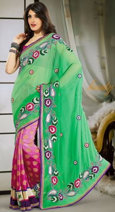 Chic Pink & Pale Green Embroidered Saree