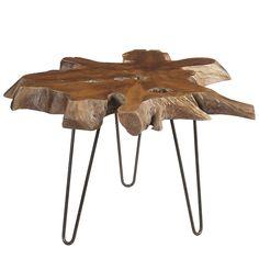 Live Edge Teak Side Table, Dark Brown | Wrightwood Furniture