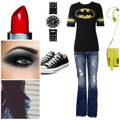 The perfect halloween costume <3 red lipstick, black hair, batman T, jeans, converse and black/white makeup <3