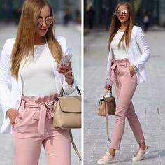 Long Pants with Bow Tie Waist Belt High Fashion Elegant Pink Women - Pants - Bottoms - Business kleidung damen - Damenmode Casual Work Outfits, Professional Outfits, Mode Outfits, Work Attire, Work Casual, Classy Outfits, Trendy Outfits, Business Professional, Casual Office