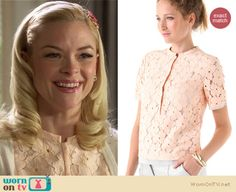 Lemon's white cardigan with rhinestone studded shoulders and peach lace blouse on Hart of Dixie.  Outfit details: http://wornontv.net/12746/