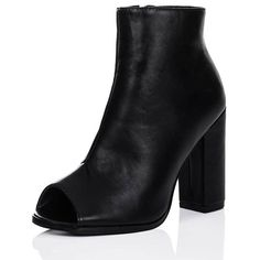 SpyLoveBuy Naya Open Peep Toe Block Heel Ankle Boots Shoes - Black... ($56) ❤ liked on Polyvore featuring shoes, boots, ankle booties, black, short black boots, peep toe ankle boots, black leather ankle booties, ankle boots and leather ankle boots