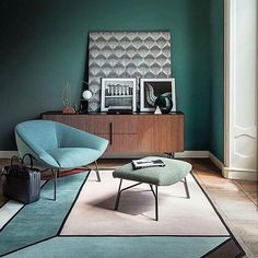 Green and Blue home decor inspiration. Beautiful combination of colour and form in this Interiors set design by via Interior Exterior, Room Interior, Home Interior Design, Interior Architecture, Interior Styling, Blue Home Decor, Retro Home Decor, Living Room Designs, Living Room Decor