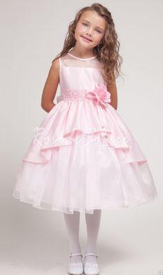 Princesse rose overlay robe demoiselle d'honneur enfant
