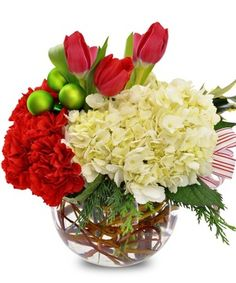 Holiday Floral Bowl by Mary Murray's Flowers #Tulsa #TulsaFlorist #Christmas