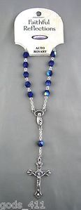 Rosary For Car Rearview Mirror With Dark Blue Aurora Borealis Beads. www.Gods411.com