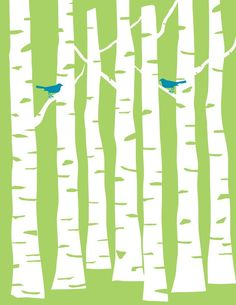 Mint Green Forest with Cyan Birds and White Trees by NoelleOReilly on Etsy, $17.00
