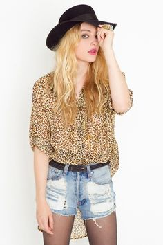 leopard button-down shirt that would look cute tucked in the front of skinnies or a black body-con skirt