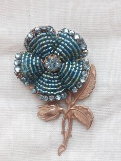 MIRIAM HASKELL 1950'S signed flower crystal brooch on Etsy, $106.50 AUD