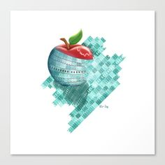 Apple Wavy Mosaic Canvas Print illustrated by We~Ivy. What do you think? Is this apple in front or ON the mosaic tiles? Canvas & other art prints for this style available upon request, pls. leave a comment & email me, I will activate the product for you. Follow We~Ivy's Art BootH for more special #art #gift ideas for #holiday seasons or # birthday #party, to find great #home decors or stuff just to spoil yourself. Waves Line, Art Prints For Home, Framed Prints, Canvas Prints, Presents For Friends, My Themes, Ocean Waves, Mosaic Tiles, Art Boards