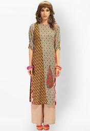 Admyrin Brown Printed Kurtis Online Shopping Store