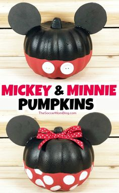 Mickey & Minnie Mouse Pumpkins {Easy Dollar Store Halloween Craft} How to transform a dollar store orange foam pumpkin into an adorable Minnie or Mickey Mouse Pumpkin! Simple Disney pumpkin ideas for Halloween that are a must for Disney fans! Mickey Mouse Halloween, Minnie Mouse Pumpkin, Mickey Mouse Crafts, Disney Halloween Decorations, Disney Pumpkin, Theme Halloween, Disney Crafts, Halloween Crafts, Dollar Tree Halloween Decor