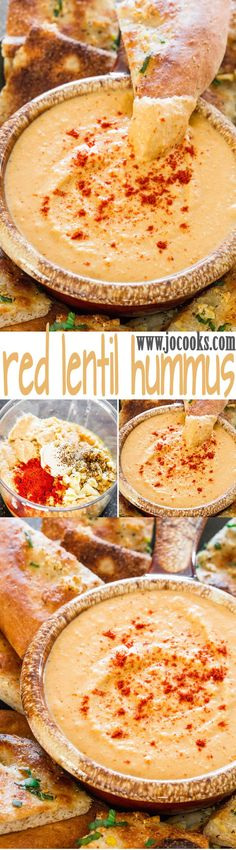 Red Lentil Hummus - it's smooth, it's creamy, a bit lemony and a whole lot delicious! Make your own hummus at home, takes no time at all!