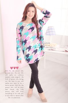 FC-T8375 (Pink) Colorful Houndstooth Long Sleeves Top
