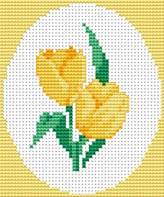 Yellow tulips free cross stitch pattern