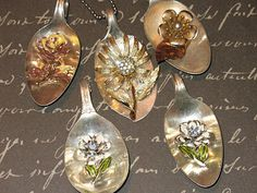 one of a kind pendants from old spoons and vintage jewelry; there are also beautiful religious pendants