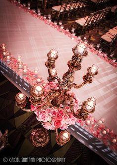 Suhaag Garden, Florida wedding decor and design vendor, wedding aisle, candelabra, vases with floating candles