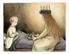 Elsa Beskow 🎄 (With images) Elsa Beskow, Swedish Christmas, Scandinavian Christmas, Vintage Christmas, Christmas Town, Santa Lucia Day, Sainte Lucie, Artists For Kids, Art Themes