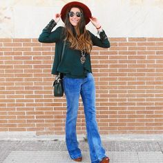 Happy Autumn    #fashion #autumn #outfit #flares #jeans #bottlegreen #must #season #color #camel #suede #wedges #new #zara #bag #bohoo #stones #necklace #hat #streetstyle