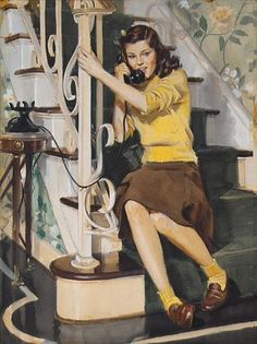 John Gannam painting color illustration 40s teenager on phone vintage fashion style yellow sweater socks brown skirt penny loafer shoes hair bow