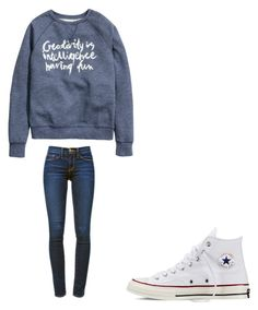 """"""""""" by melodyleighmitchell on Polyvore featuring H&M, Frame Denim and Converse"""
