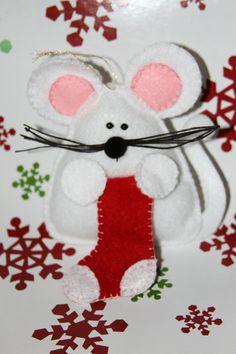 Souris de Noël personnalisable senti ornement
