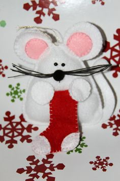 Customizable Christmas Mouse Felt Ornament by BizzysCorner on Etsy, $3.00