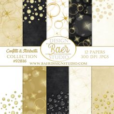 Gold and Black Confetti Digital Paper Pack, Gold digital paper. The benefit of purchasing digital backgrounds and digital clip art is the ability of using the purchase over and over again. Purchase once, download onto your computer or tablet and you are ready to go! Use the images for your wedding, personalized family cards, baby showers, holidays and anniversaries. Create your own brand!