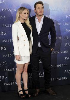 "Jennifer Lawrence and Chris Pratt at the ""Passengers"" photo call at Hotel Villamagna in Madrid, Spain on November 30, 2016"