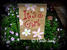 It's a Girl Burlap Garden Flag Bow ~ New Baby by artistrhondajames