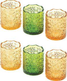 Citrine Glass Votive Candles Holder Cup Centerpieces Decor Set Of 6 New