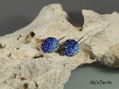 Polymer clay earrings blue earrings blue round by AlenDarArt