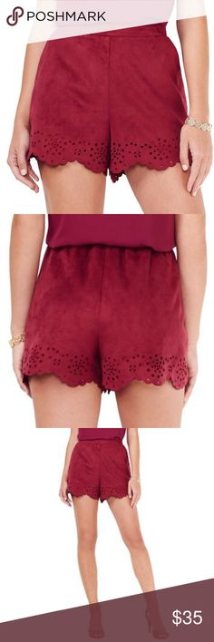 """LC LAUREN CONRAD FAUX-SUEDE SCALLOPED SHORTS Lauren Conrad red plum super soft scalloped faux-suede eyelet shorts will elevate your warm weather wardrobe!  The scalloped eyelet hem adds a sophisticated touch to your casual style.  S 4-6 (29"""" waist) Scalloped hem with eyelet details 2 front pockets Faux-suede Lined 3 1/2-in. inseam Midrise sits above the hip Elastic waistband Polyester Machine wash  *Bundle Discounts * No Trades * Smoke free LC Lauren Conrad Shorts"""