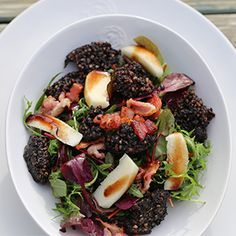 Recipes from Recipeguru.co.uk - black pudding with apple, bacon and balsamic