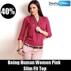 Being Human Women Pink Slim Fit Top @ 40% Off