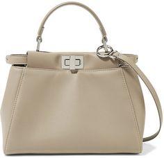 Fendi - Peekaboo Mini Leather Shoulder Bag - Stone