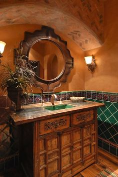 spanish style furniture You are in the right place about Spanish style bathrooms vanity Here we offer you the most beautiful pictures about the Spanish style bathrooms mexico you are loo Spanish Bathroom, Spanish Style Bathrooms, Master Bathroom, Bathroom Marble, Concrete Bathroom, Spanish Style Decor, Spanish Style Homes, Budget Bathroom Remodel, Bath Remodel