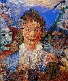 James Ensor, Oude vrouw met maskers