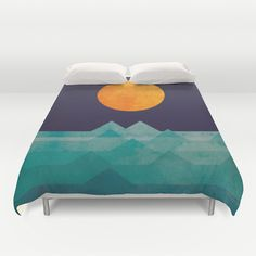 Duvet Covers featuring The ocean, the sea, the wave - night scene by Budi Kwan
