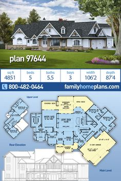 Amazing Craftsman Country Style House Plan Luxury Family Home Plan with 4851 square feet - This Luxury size craftsman design is available on a basement foundation with an amazing covered low - 5 Bedroom House Plans, Family House Plans, Country Style House Plans, Luxury House Plans, Dream House Plans, House Floor Plans, House Design Plans, Large Floor Plans, Luxury Floor Plans