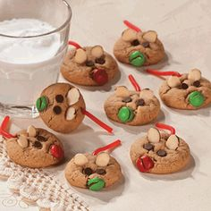 Peanut Butter Cookie Mice  Refrigerated Peanut Butter Cookie Dough  Almond Slices  Red & Green M's® or Other Candy Coated Chocolates  Mini Chocolate Chips  Red Shoestring Licorice Christmas Cookie Exchange, Christmas Sweets, Christmas Fun, Christmas Foods, Childrens Christmas, Holiday Foods, Christmas Projects, Christmas Appetizers, Holiday Fun