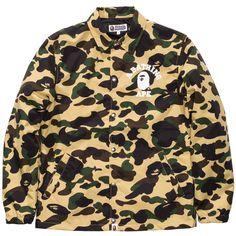 BAPE 1ST CAMO COLLEGE COACH JACKET ($385) ❤ liked on Polyvore featuring outerwear, jackets, a bathing ape, camoflauge jacket, camoflage jacket, coach jacket and camo jacket