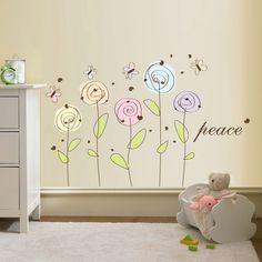 Flower Wall Decal - Peace Flowers Decal - Vinyl Flower Sticker. $51.99, via Etsy.