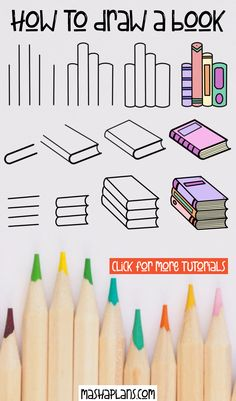 Learn how to draw different books with these super easy tutorials for beginners. Learn to draw an open book, a stack of books, standing books, and more! 7 ridiculously simple step by step tutorials. #mashaplans #tutorial #howtodoodle #bookdoodles