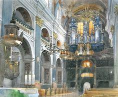 Michal Suffczynski_watercolor paintings_city-art_акварель_город
