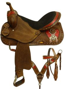Economy style barrel saddle set with rebel flag skull and crossed pistols. This saddle features a chocolate leather accented with a scallop tooling and meta Cowgirl And Horse, Western Horse Tack, Horse Riding, Western Saddles, Barrel Saddle, Barrel Horse, Equestrian Outfits, Equestrian Style, Kimber Pro Carry Ii