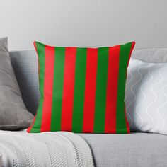 """""""Wide Red and Green Christmas Cabana Stripes"""" Throw Pillow by podartist 